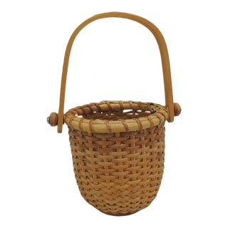 Small Honey Color Woven Nantucket Decorative Basket For Sale