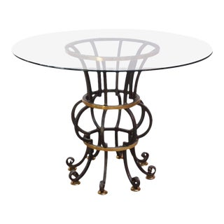 Hollywood Regency Style Brass and Steel Center Table after Maitland-Smith For Sale