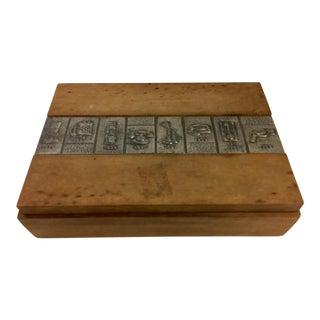 Vintage Wood Engraved Telephones Lidded Box