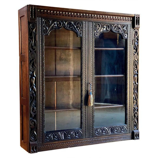 1880 Antique Gothic Solid Oak Bookcase For Sale - Image 11 of 11