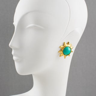 Edouard Rambaud Paris Signed Clip on Earrings Gilt Metal Sun Turquoise Cabochon Preview