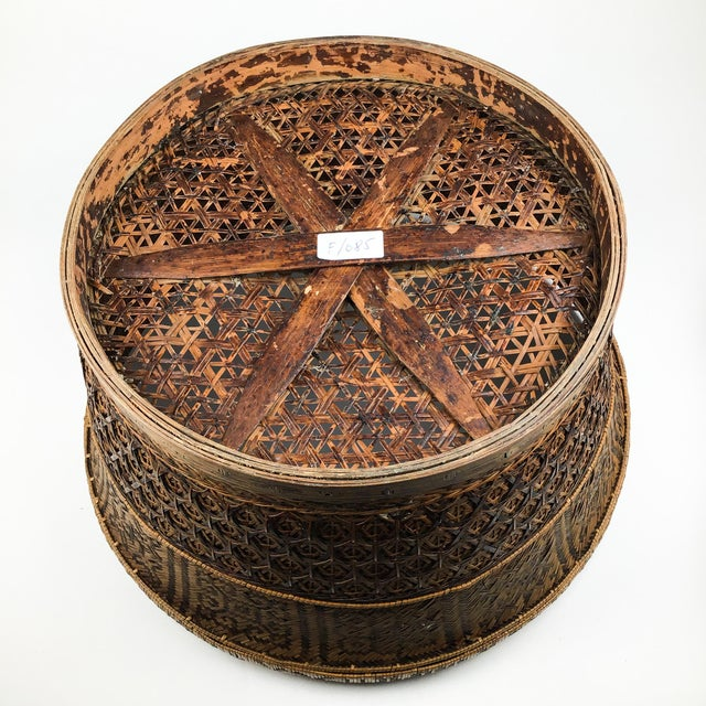 Sienna Chinese Antique Large Woven Empress Basket For Sale - Image 8 of 13