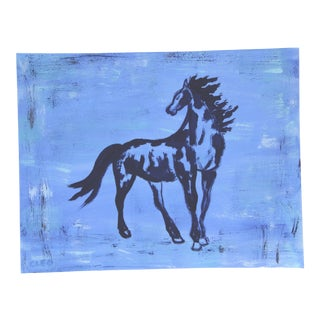 Blue Minimalist Horse by Cleo Plowden For Sale