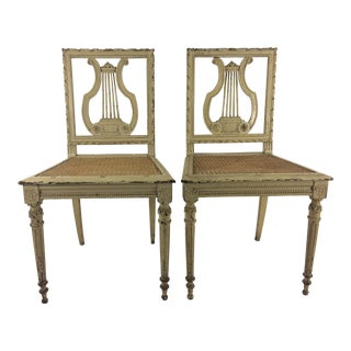 Louis XVI Style Lyre Painted Side Chairs - A Pair