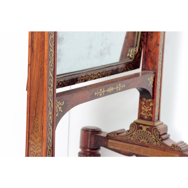 Gold English Regency Rosewood Brass Inlay Boulle Work Cheval Mirror For Sale - Image 8 of 11