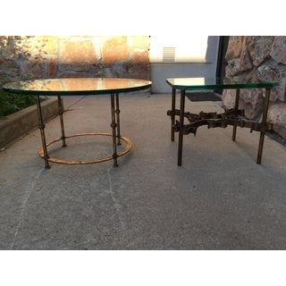 1950s Spanish Thick Glass on Heavy Gilt Iron Side Tables - a Pair Preview