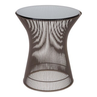 Warren Platner for Knoll Bronze Side Table With Smoked Glass Top
