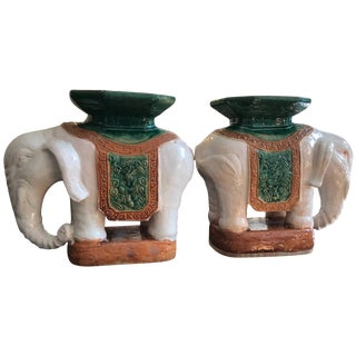 Pair of Italian Ceramic Elephant Garden Stools or Drinks Tables For Sale