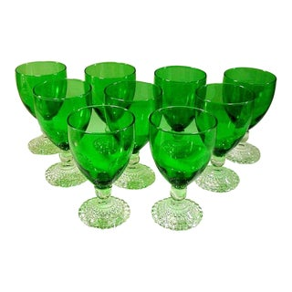 Anchor Hocking Green Goblets - Set of 9
