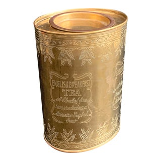 Vintage Brass English Tea Caddy Canister For Sale