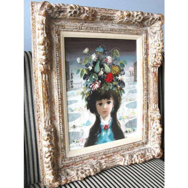 "Folk Art Jean Calogero Oil Painting ""Patrizia"" (Signed) For Sale - Image 3 of 9"