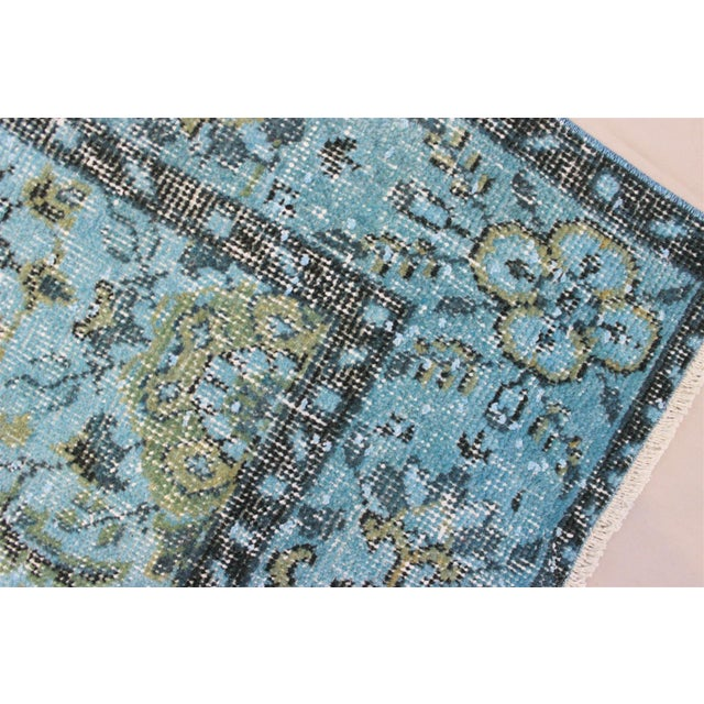 Turquoise Over-Dyed Rug - 5′5″ × 9'8″ For Sale - Image 7 of 10