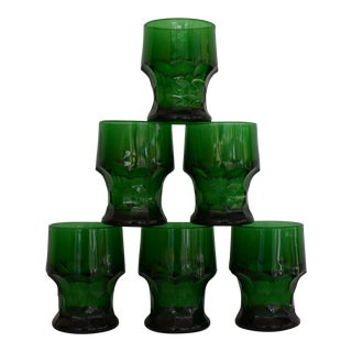 1970s Anchor Hocking Georgian Honeycomb Forest Green Tumblers - Set of 6 For Sale