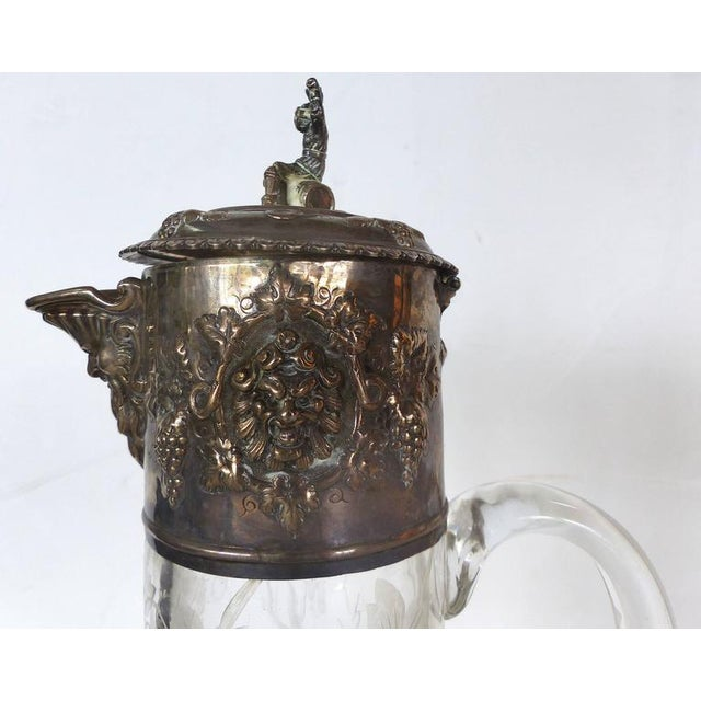 19th Century Sterling Cut and Etched Claret Jug For Sale - Image 4 of 11