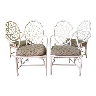 McGuire Style Cracked Ice Metal Dining Chairs For Sale