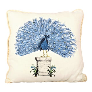 Printed Peacock on a Pedestal For Sale
