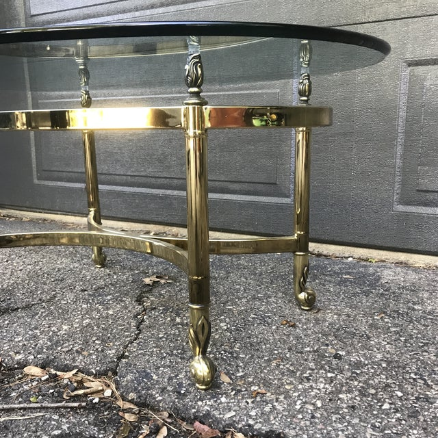 Metal Hollywood Regency Brass and Glass Coffee Table by LaBarge For Sale - Image 7 of 9