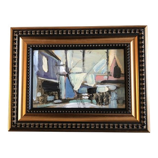 """Original Contemporary Stephen Heigh Small Abstract Painting """"City Life"""" For Sale"""