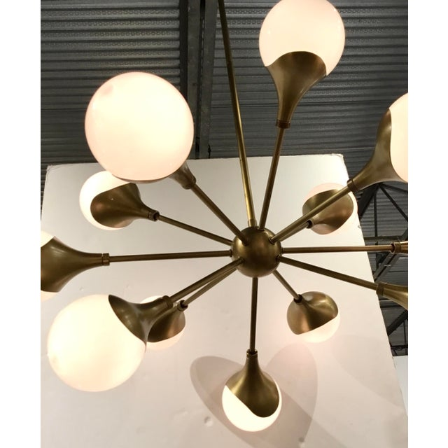 2010s Arteriors Mid-Century Modern Inspired Antique Brass Finished Augustus Chandelier For Sale - Image 5 of 6