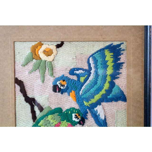 American 1930s Vintage Tropical Parrot Crewel Work Framed Textile Art For Sale - Image 3 of 8