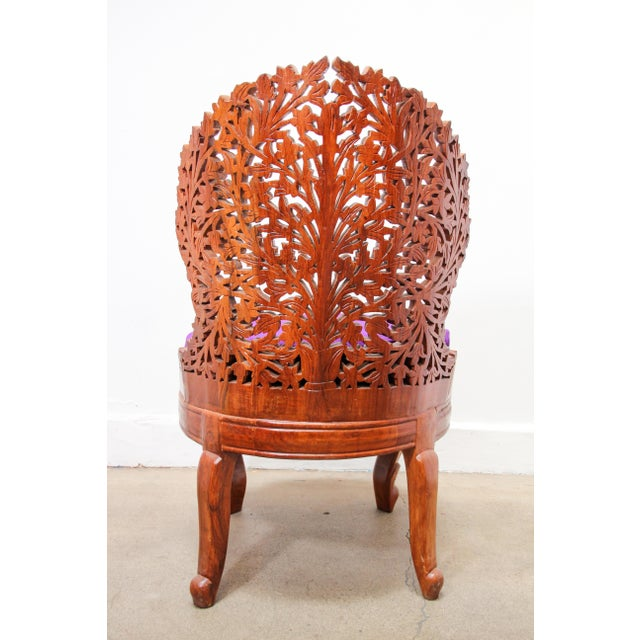 Anglo-Raj Carved Wood Side Lounge Chairs - a Pair For Sale - Image 4 of 13
