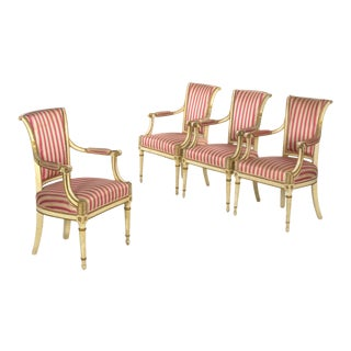 Set of Four Neoclassical White-Painted French Accent Arm Chairs, 19th Century For Sale