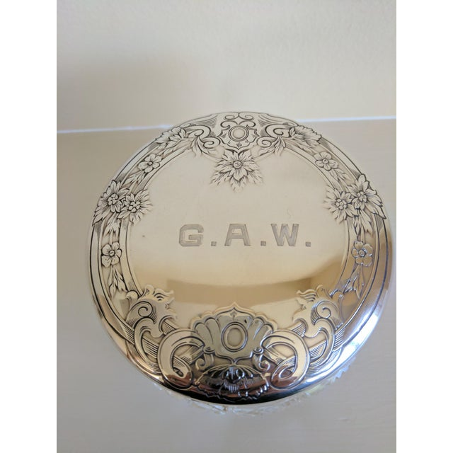 "Simple but perfect monogrammed ""G.A.W"" Gorham sterling silver vanity powder jar. In great condition. Date : 20th Century...."