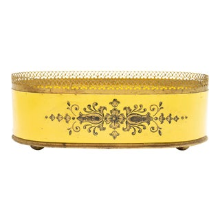 Antique French Yellow Tole Cache Pot Jardiniere For Sale