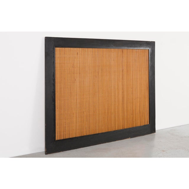 "screen designed by Charlotte Perriand for Les Arcs 1800 France, c 1974 lacquered wood + pine 77 ⅜"" h x 96"" w x 1 ¼"" d..."