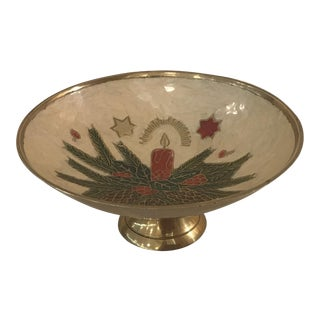 Vintage Brass and Enamel Holiday Footed Bowl For Sale