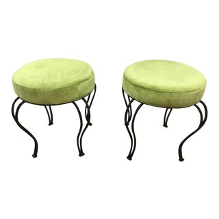 Contemporary Metal & Green Suede Upholstered Stools - A Pair