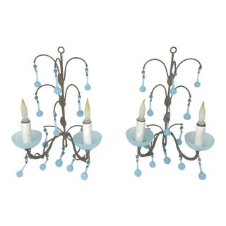 Early 20th Century French Cottage Opaline Blue Murano Drops Chandelier Sconces - a Pair