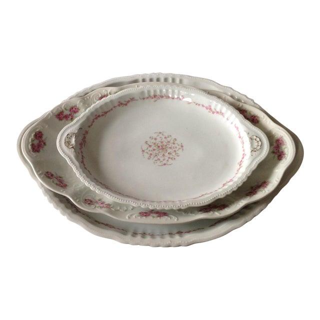 Austrian White & Pink Rose Platters - Set of 3 - Image 1 of 11