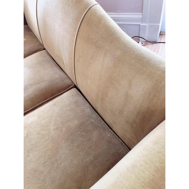 Camel Vintage Tobacco Color Velvet Camel Back Sofa For Sale - Image 8 of 10