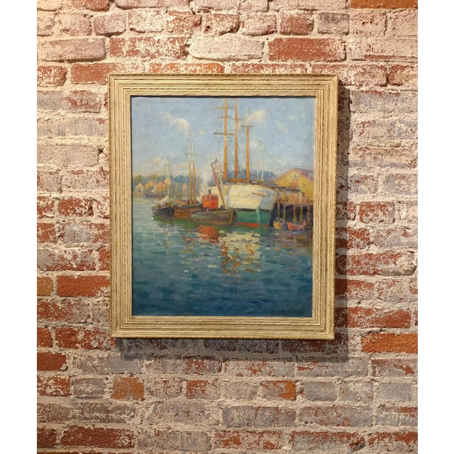 Frederick Carl Smith -Boats in the Port -Impressionist Oil painting c1930s Oil painting on Canvas -Signed - Image 2 of 10