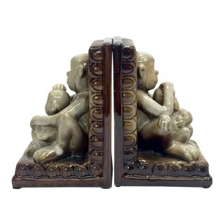 Terracotta Monkeys Bookends, a Pair For Sale