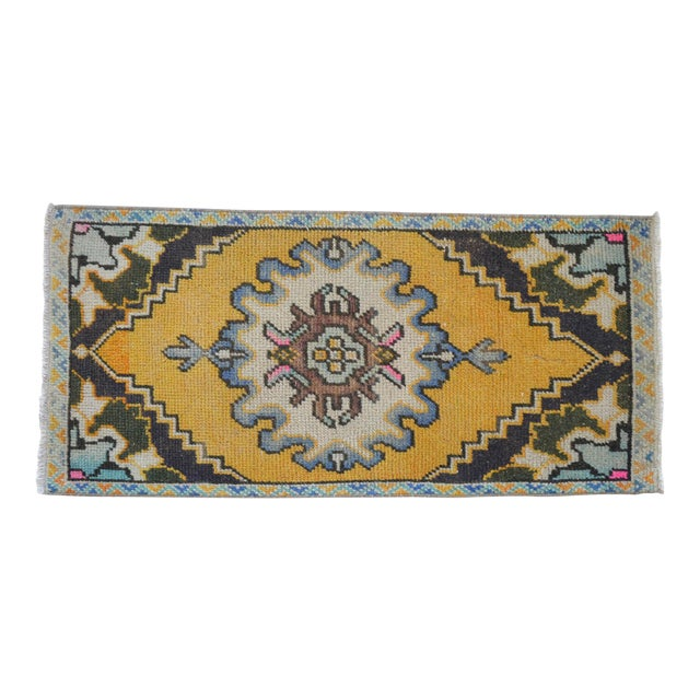 Distressed Low Pile Yastik Rug Faded Small Rug Bath Mat- 18'' X 38'' For Sale