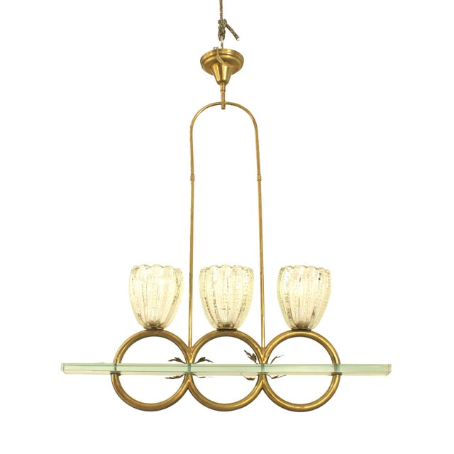 "Barovier & Toso Italian 1940s Three ""Rings"" Chandelier by Barovier Et Toso For Sale - Image 4 of 4"