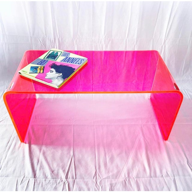 """""""The Long Game"""" Coffee Table in Neon Pink For Sale In San Francisco - Image 6 of 9"""