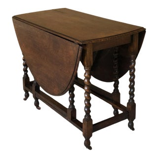 Antique Barley Twist Gateleg Drop Leaf Table For Sale