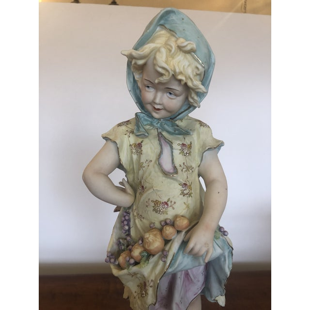 1940s Large Antique Hand Painted Parian Porcelain Figure of a Girl For Sale - Image 5 of 13