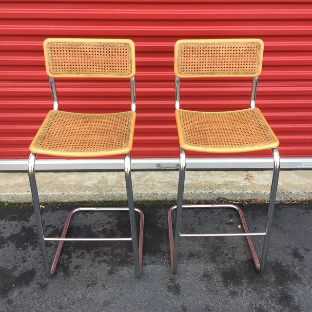 Mid-Century Cane Cesca Bar Stools With Chrome by Marcel Breuer - A Pair - Image 5 of 8