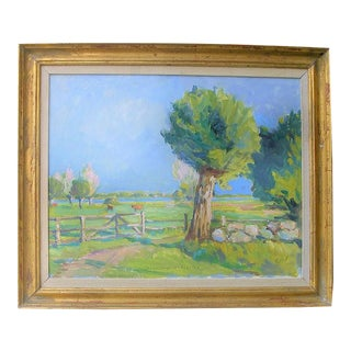 Danish Vintage Landscape Oil Painting by Aage Hansen For Sale