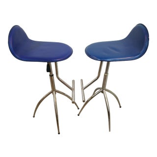 Modern Adjustable Blue Spider Leg Barstools - a Pair