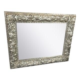 Large Ornately Carved Silverleaf Horizontal Rectangular Mirror For Sale