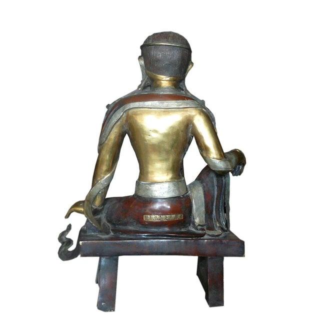 Asian Chinese Handmade Metal Tara Statue For Sale - Image 3 of 6