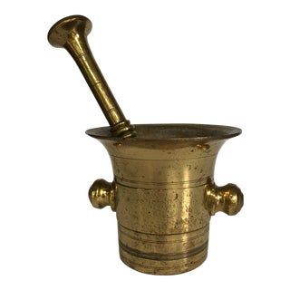 Antique Solid Brass Mortar and Pestle - 2 Pieces For Sale
