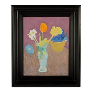 """1980 """"Vases Still Life"""" Oil Painting by Sally Michel Avery, Framed For Sale"""