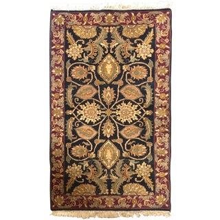 1990s Indo-Persian Black and Red Rug - 3′ × 5′ For Sale