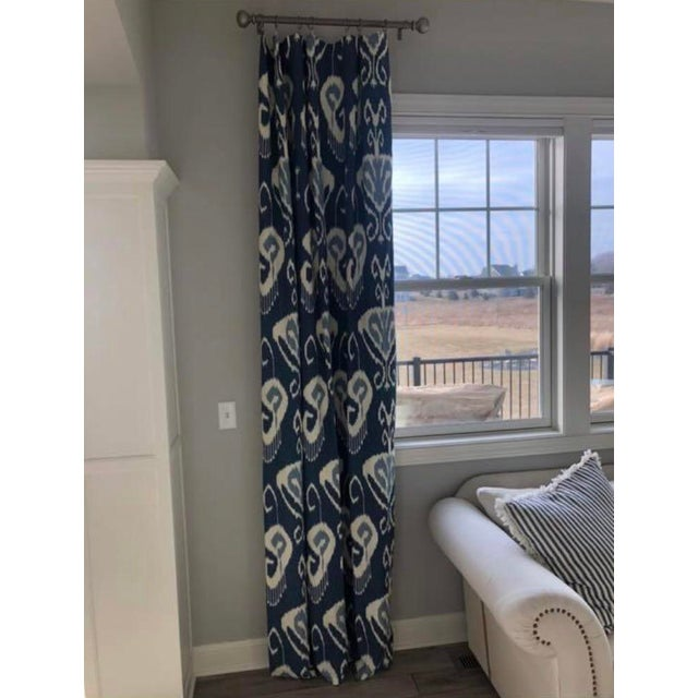 2010s Blue Ikat Curtain Panels - A Pair For Sale - Image 5 of 5